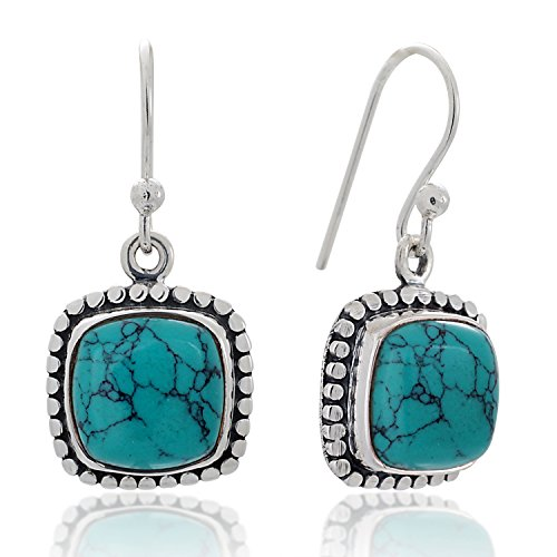 925 Sterling Silver Blue Turquoise Gemstone Dotted Edge Square Dangle Hook Earrings 1.2