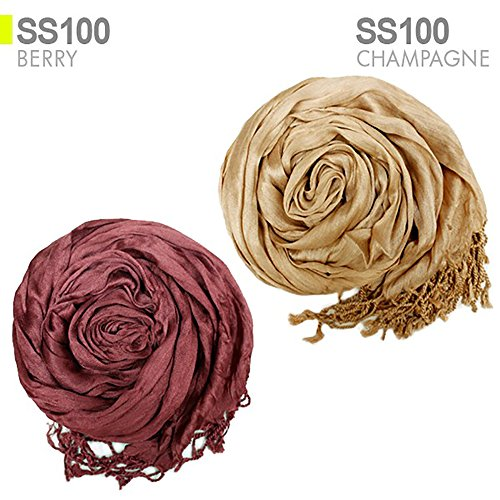 Coco Soft Crinkle Scarf Solid Color For All Season (CHAMPAGNE) by COCO STORY