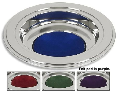 (Silver Tone Offering Plates (Purple Felt Pad))