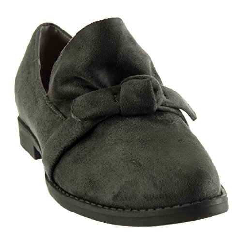 Angkorly - damen Schuhe Mokassin - Knoten Blockabsatz 2 CM Grau