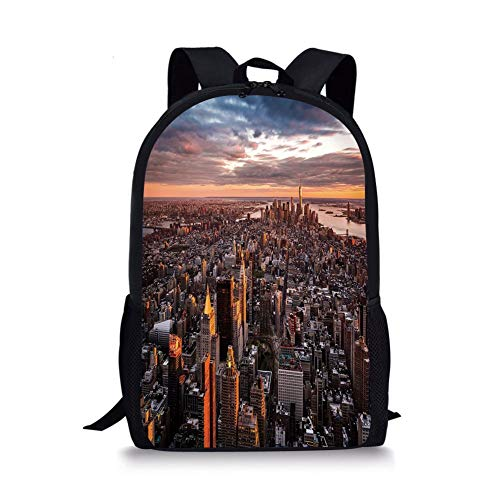 School Bags USA,Aerial View of the Manhattan Skyline at Sunset Famous Financial District NYC,Blue Orange White for Boys&Girls Mens Sport Daypack (Best School Districts In Manhattan Nyc)