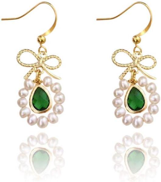 LOJBFD Pendientes de Perlas Naturales con Piedras Preciosas y Arcos