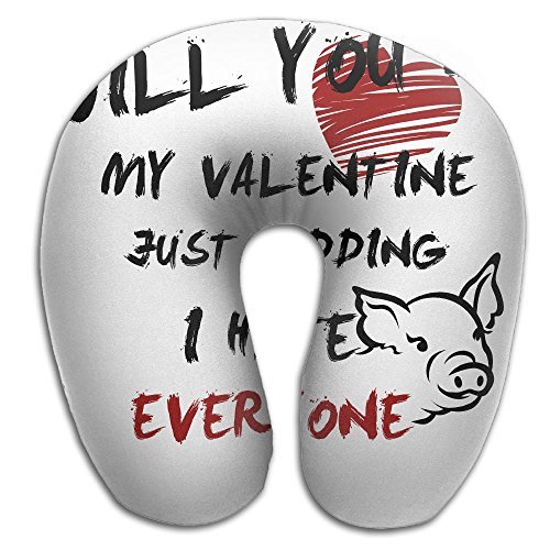LINGLIIl Designed Double-Sided Printing Will You Be My Valentine Hate You Pig Lover U Shape Travel Pillow Memory Pillow Supports The Head Neck