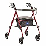 Medline Freedom Mobility Lightweight Folding Aluminum Rollator Walker with 6-inch Wheels, Adjustable Seat and Arms, Burgundy