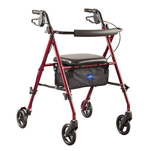 Basket Walker Medline - Medline Freedom Mobility Lightweight Folding Aluminum Rollator Walker with 6-inch Wheels, Adjustable Seat and Arms, Burgundy