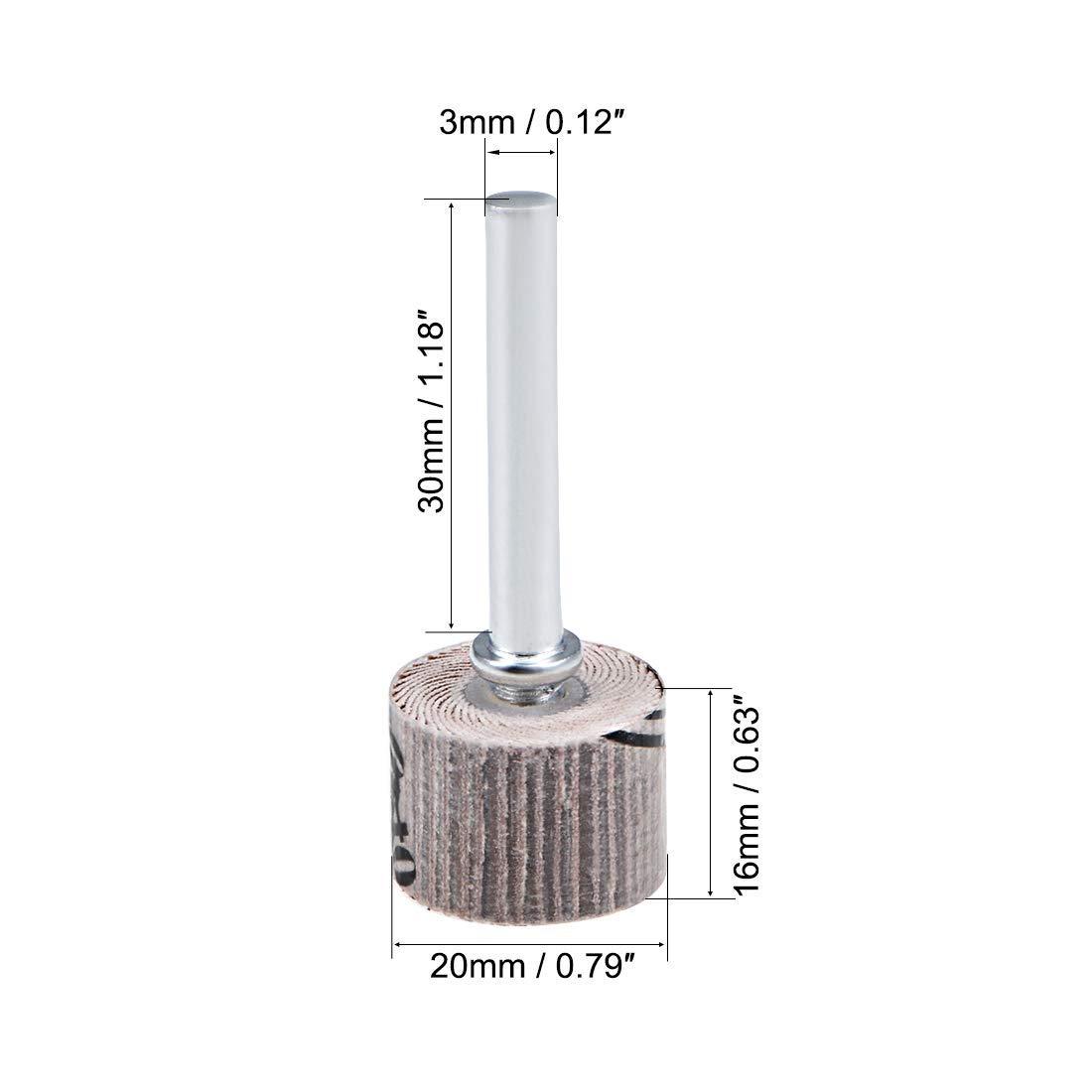 Flap Wheel 20mm x 16mm 240 Abrasive Grain grit with 1//4Arbor 10 Pieces