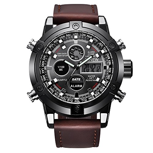 Watches for Men Sports Chronograph Waterproof Analog Quartz Watch with Leather Band Classic Casual (Coffee)