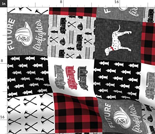 - Spoonflower Future Fabric - Firefighter Fire Truck Baby Boy Little Man Red and Black Print on Fabric by The Yard - Minky for Sewing Baby Blankets Quilt Backing Plush Toys