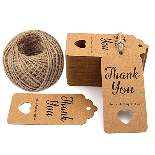 Thank You for Celebrating with Us,Original Design Paper Gift Tags,100 PCS Kraft Paper Tags Price Tags with 100 Feet Natural Jute Twine ()