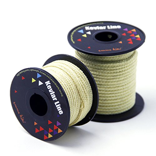 EMMAKITES 750lb 100ft Braided Kevlar String Utility Cord Mason Line for Kite Bridle Fishing Camping Packing Creative Projects (100' Line)