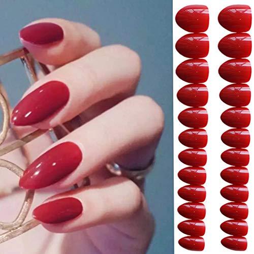 Evazen 24Pcs Different Color Stiletto Shape Sharp False Nails Full Cover Long Claw Nails Acrylic Stiletto False Nails for Women (Red) -
