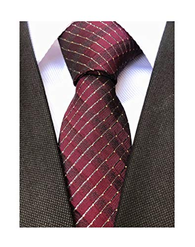 Maroon Ties for Mens Long Regular Wedding Stripe Extra Long Designer Necktie for Young Boys
