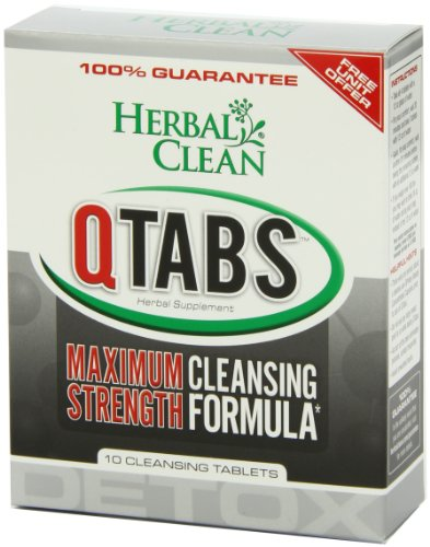 Herbal Clean QTabs Maximum Strength Cleansing Formula - Herbal Detox Supplement - (10 Tablets)