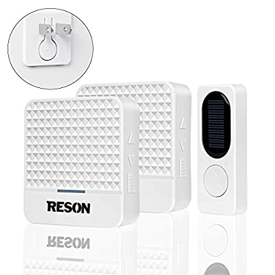 Reson Long Range Wireless Doorbell with 1 Remote Transmitter Button and 2 Receivers,Battery Operated Loud Wireless Doorbell Kit,Waterproof Digital Door Bell with Lights,100M 328Ft ,38 Chimes Tones