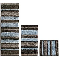 mDesign Stripes Microfiber Bathroom Shower Accent Rug, Spa, Standard & Short - Set of 3, Mocha/Gray