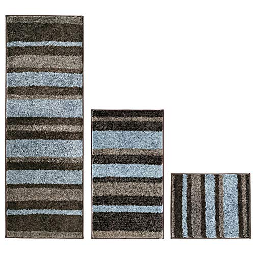mDesign Striped Microfiber Polyester Spa Rugs for Bathroom Vanity, Tub/Shower - Water Absorbent, Machine Washable - Includes Soft Non-Slip Rectangular Accent Rug Mat in 3 Sizes - Set of 3 - Mocha/Gray from mDesign