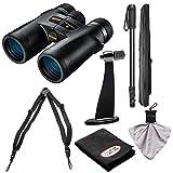 Nikon Monarch 7 10×42 ED ATB Waterproof/Fogproof Binoculars with Case + Harness + Tripod Adapter & Monopod + Kit