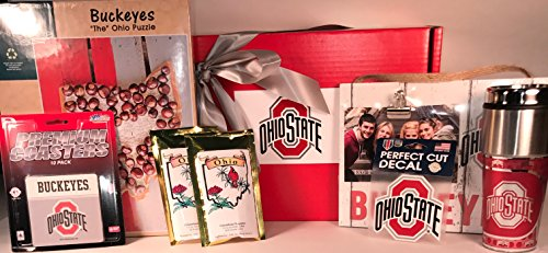 The Ohio State Gift Box Basket - 4 Licensed Items & 1 Puzzle & 2 Premium Coffee - Perfect for Graduates, Alumni, New Students, Holidays, Birthday, Get Well, Congratulations, Thank You, and More! (Easter Basket Items)
