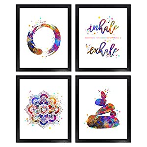 Dignovel Studios Unframed (Set of 4) 8X10 Zen Bedroom Posters Zen Meditation Stones Inhale Exhale Mandala Watercolor…