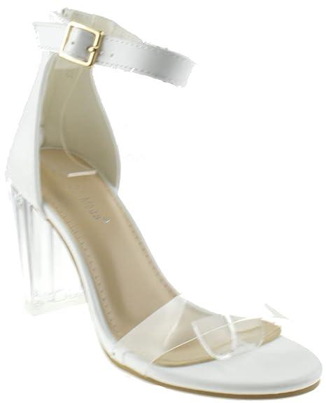3e4779aa27d Top Moda Alma 70 Womens Clear Metallic Chunky Heel Peep Toe Lucite Sandals:  Amazon.ca: Shoes & Handbags