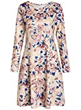 Pintage Women's Long Sleeves Pocket Dress Swing T-Shirt Dress M Blush Rose