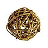 "Custom & Fancy {3"" Inch} Approx 240 Pieces of Large Round Ball ""Table"" Party Confetti Made of Premium Rattan w/ Modern Unique Creative Natural Textured Outdoor Light Twig Nest Filler Design [Gold]"
