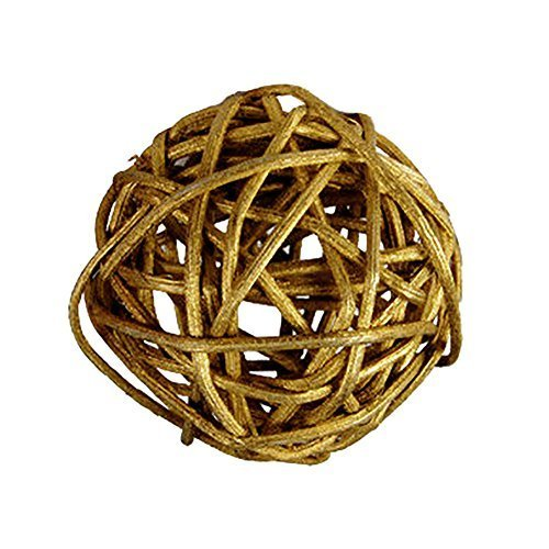 "Custom & Fancy {4"" Inch} Approx 90 Pieces of Large Round Ball ""Table"" Party Confetti Made of Premium Rattan w/ Natural Chic Modern Look Shiny Light Stick Twig Nest Scatter Filler Design [Gold] by mySimple Products"