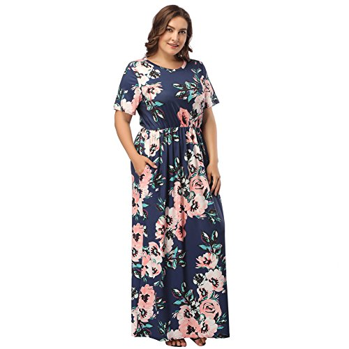 HOOYON Women's Casual Floral Printed Long Maxi Plus Size Dress with Pockets Royal Blue XXL