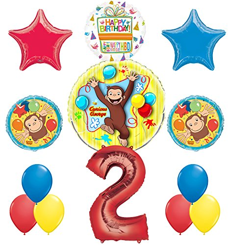 Curious George 2nd Birthday Party Supplies Balloon Bouquet Decorations]()
