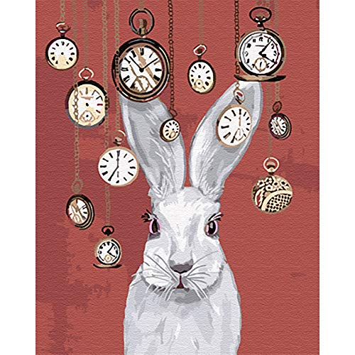 DIY Oil Paint by Numbers for Adults, Beginners on Canvas. Including Pigments Brushes for Eco-Friendly Acrylic Painting Sets. Decor Gift 16X20 inches Clock Rabbit