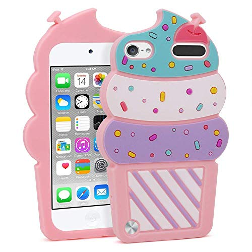 iPod Touch 6 Case, iPod Touch 5 Case, 3D Cute Cartoon Cherry Cupcakes Ice Cream Food Shaped Kids Girls Soft Rubber Silicone Shockproof Protector Skin Cover for iPod Touch 6th 5th Generation (Pink) (Ipod Touch Covers For Kids)