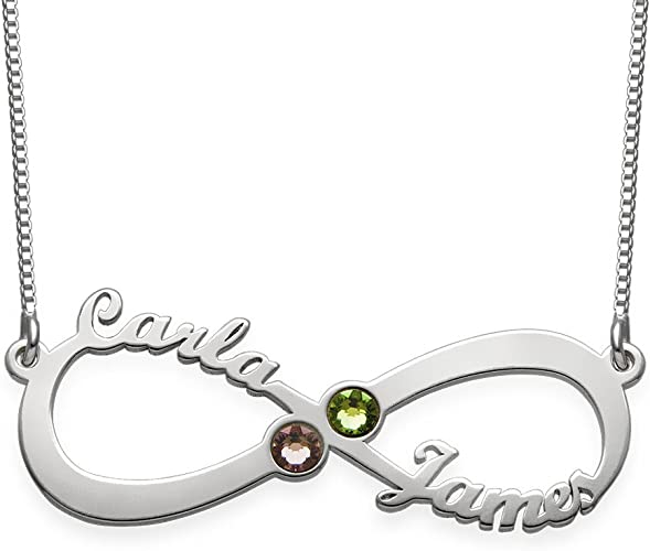 Ouslier 925 Sterling Silver Personalized Fully Crystal Stone Brooch Pin Custom Made with Any Names