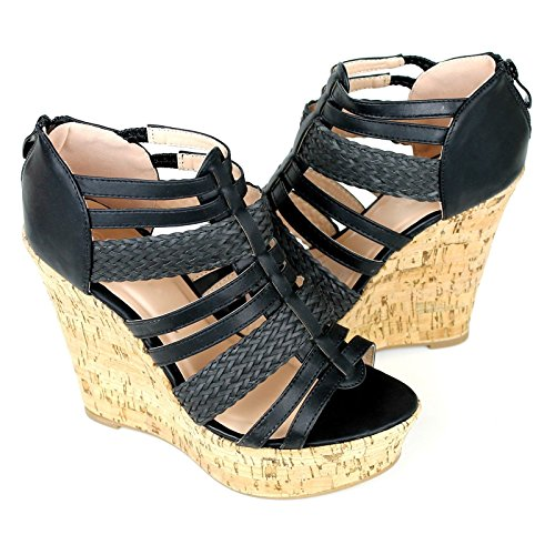 Detail Platform High Heel Shoe (Women's Cork Wedge Platform Strappy Gladiator High Heel Shoes Sandals Wedges (9, Tall Black (43)))