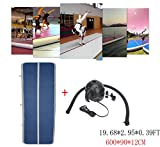 Focussexy 6x0.9x0.12M Inflatable Gym Mat Air Track Floor Tumbling Mats for Home use Gymnastics Training/Taekwondo/Cheerleading/Yoga on water/Beach/Park with Free Electrical Pump