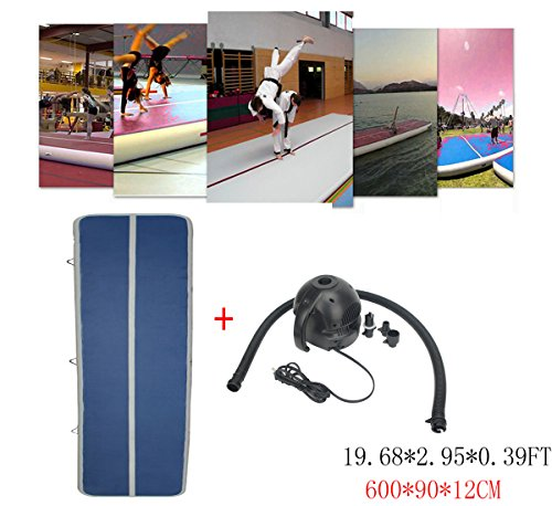 Focussexy 6x0.9x0.12M Inflatable Gym Mat Air Track Floor Tumbling Mats for Home use Gymnastics Training/Taekwondo/Cheerleading/Yoga on water/Beach/Park with Free Electrical Pump by Focussexy