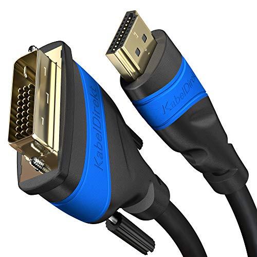 KabelDirekt TOP Series - Cable HDMI a DVI High-Speed Cable de Adaptador, Dual Link, 24+1 Pin, DVI-D, Full HD, 3D, 1920 x 1080, para conectar tarjetas gráficas con televisores), 2 m