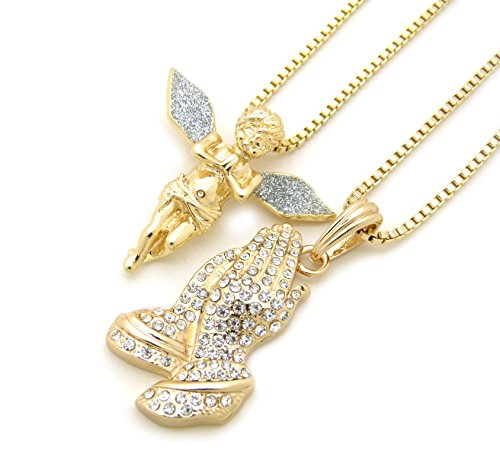 Praying Hands Prayer Box - Sparkled Micro Praying Angel, Prayer Hands Pendant 24