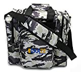Kaze Sports Deluxe 1 Ball Bowling Tote with Two Side Pockets (White Camo)