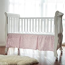 TillYou 100% Cotton Sateen Pleated Crib Skirt, Pink Stripe Floral