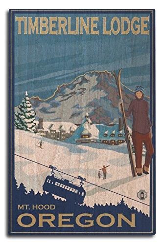 (Lantern Press Mt Hood, Oregon - Timberline Lodge (10x15 Wood Wall Sign, Wall Decor Ready to Hang))