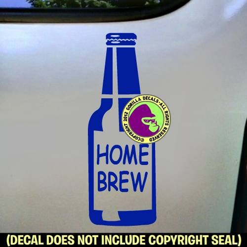 HOME BREW Brewing Beer Bottle Brewer Ale Vinyl Decal Bumper Sticker Laptop Window Car Wall Sign BLUE