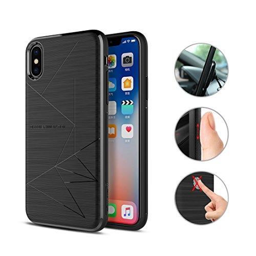 Nillkin iPhone X/XSCase, [Magic Series] Qi Wireless Charging Phone Case Matte Slim Charger Cover Built-in Four Magnets [Only Designed for Nillkin Car Magnetic Wireless Charger] - Black