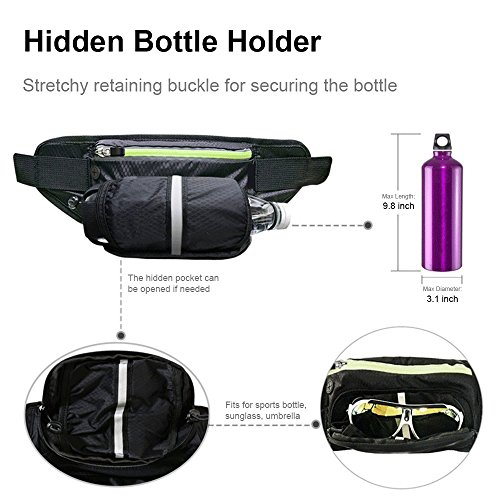 DIGIBIG Waist Bag, Fanny Pack with Bottle Holder for Hiking Cycling, Adjustable Running Belt for Women Men, Water Resistance Waist Pack Fits for iPhone or Samsung Galaxy by DIGIBIG (Image #4)