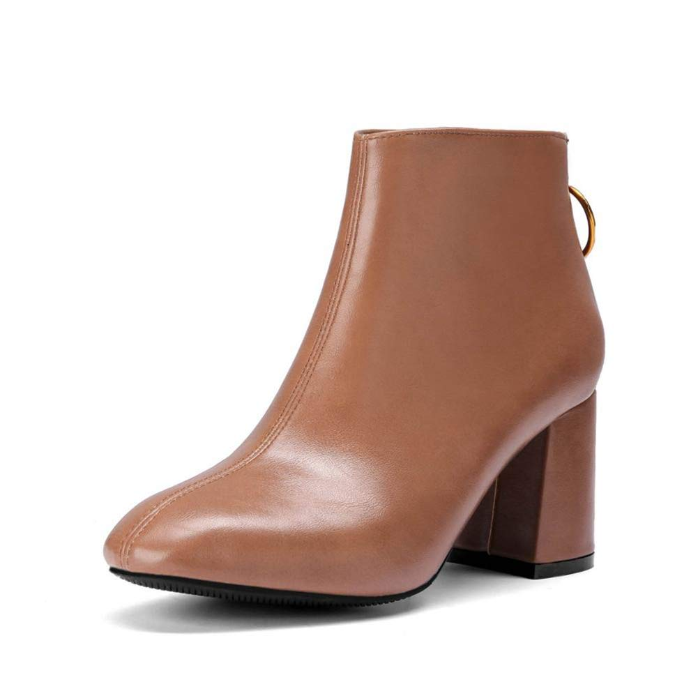 Female Pu Leather Pointed Toe Ankle Boots Women Zip High Heel Shoes European and British Style Women Boot