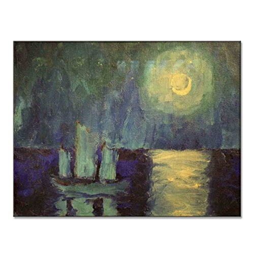 Emil Nolde Moonlit Night 1914 Original Moonlight Canvas Paintings Hand Painted Reproduction Unframed Tablet - 36X28 inch (91X71 cm) for Living Room Bedroom Dining Room Wall Decor To DIY Frame by Neron Art (Image #3)