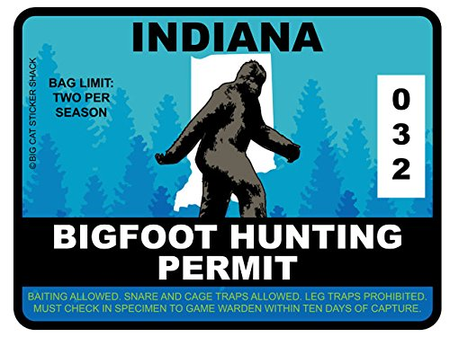 Bigfoot Hunting Permit - INDIANA (Bumper Sticker)