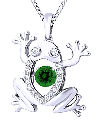 - AFFY Round Cut Simulated Green Emerald with White Sapphire Frog Pendant Necklace in 14K White Gold Over Sterling Silver
