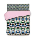 Difference Between California King and Eastern King Pink Duvet Cover Set,Queen Size,Geometric Hexagonal Pattern Stars Asian Style Ancient Eastern Zellige Art Decorative,Decorative 3 Piece Bedding Set with 2 Pillow Sham,Best Gift For Girls Women,Green B