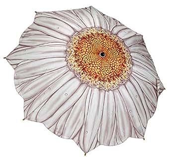White Daisy Women's Compact Umbrella Auto Button Open Gift