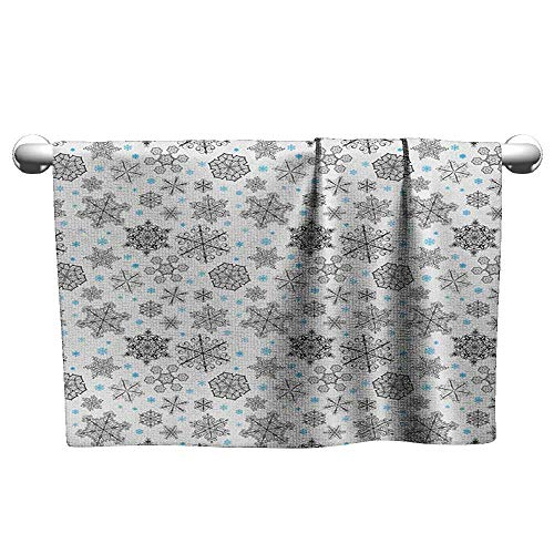 (Bensonsve Square Towel Snowflake,Lace Style Arrangement of Snowflakes Winter Season Christmas Illustration, Blue Black White,Hooded Poncho Towel for Kids)